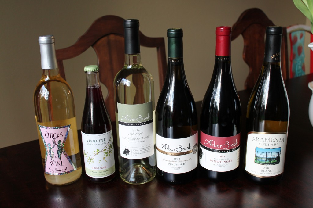 5 bottles of wine (and a bottle of non-alcoholic, carbonated Pinot)