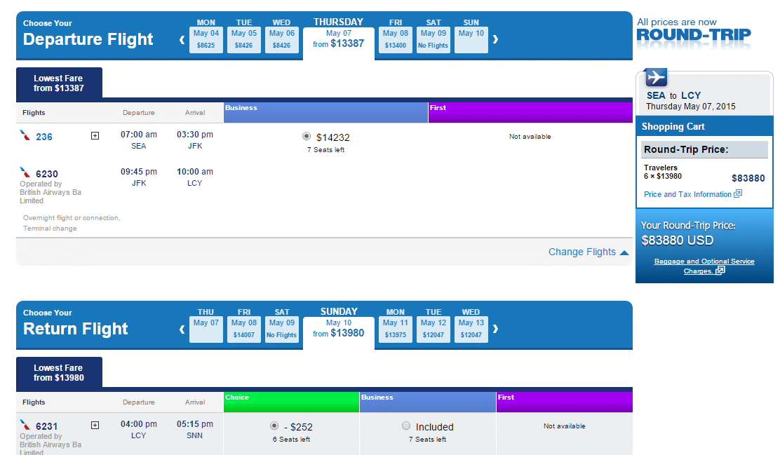 AA Seattle To London Cost
